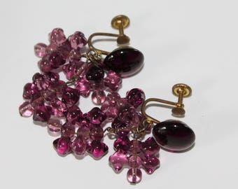 Vintage Purple Amethyst Glass Earrings Grape Cluster Dangle Screw Back Western Germany