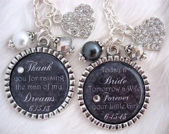 MOTHER of the BRIDE Gift- Mother of GROOM Wedding Jewelry- Black Wedding-Thank you Gift Man of my Dreams Today a Bride Wedding Keychain