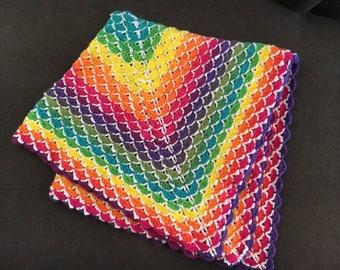 Rainbow Beautiful Shells baby blanket