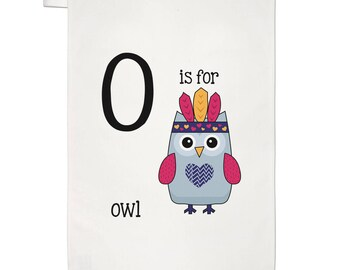 Letter O Is For Owl Tea Towel Dish Cloth