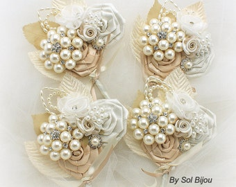 Boutonnieres,Champagne,Tan,Ivory,Gold,Corsages,Vintage Style, Groom, Groomsmen,Button Hole,Mother of the Bride, Pearl Boutonnieres, Crystals