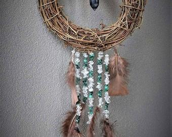 20cm wreath dream catcher with fluorite
