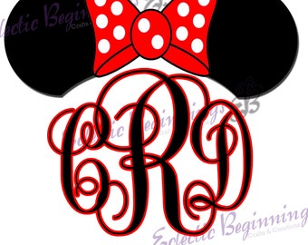 Personalized and Custom Disney Monogram Initials Ears Name Digital File, DIY Print Iron On-Minnie Mouse Ears Monogram Letters