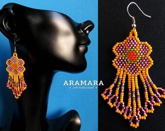 Native american earrings, Flower Earrings, Mexican Jewelry, Beaded Flower, Mexican earrings, Huichol Earrings, Mexican folk art, AF-0204