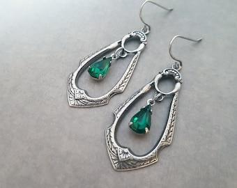 Art Deco Earrings Emerald Green Tear Drops Hoop Earrings Gothic Jewelry Medieval Fantasy Ornate Jewelry