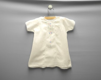 Vintage Baby Clothes, 1920's Handmade, White Cotton Voile Lace and Embroidered Dress Set, Vintage Baby Dress, Size 12 Months
