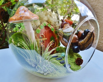 "Sleeping Gnome Terrarium Kit ~ 8"" Air Plant Terrarium Kit ~ Gnome in a Hammock ~ Mushroom, Sand, and Moss Choice ~ Fairy Garden Kits ~ Gift"