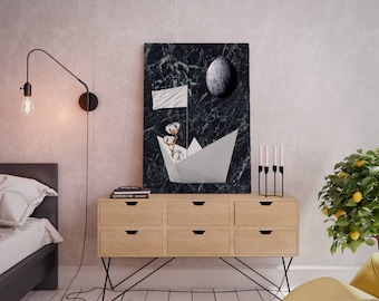 Wall art collage canvas print image - Paper boat