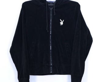 Vintage Playboy Bunny Head small Embroidery logo Zipper Up Sweater Hoodie black Color size Large