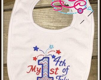 My 1st 4th of July Patriotic Bib