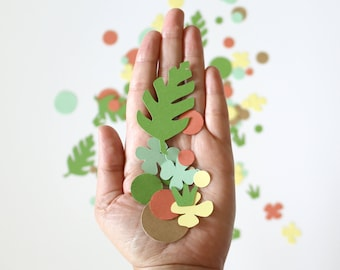 Chunky Confetti - Florals and Greenery - Coral + Mint, Primary Colors