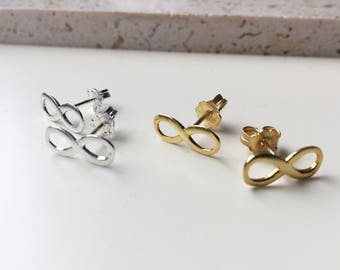 INFINITY studs gold silver sterling studs small infinity gold charm fashion infinity modern jewelry gift for girl