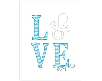 """Baby Boy card set - """"Pacifier LOVE"""" (set of 20 cards & envelopes) - CUSTOMIZABLE!!"""