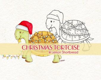 Digital Stamp Christmas Turtle Tortoise, Digi Download, Holiday Lights Decoration, Merry Xmas, Animal Graphic, Clip Art, Scrapbooking