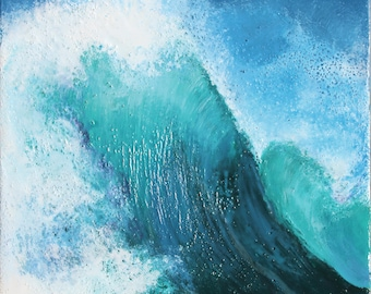 "Reproduction of encaustic painting by Daina Deblette Scarola, 8""x10"" Seapray (blue wave, ocean spray, surf art)"