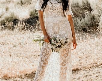 Silky Vintage Champagne Lace Sleeve Silky Lace Hourglass Mermaid WEDDING Maxi Dress Gown Modest Train Bohemian Boho Saldana Corina Dress