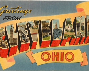 Linen Postcard, Greetings from Cleveland, Ohio, Large Letter, 1941