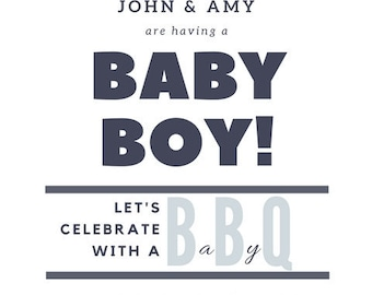 """Set of 30 Baby """"Q"""" baby shower invitations with Envelopes"""