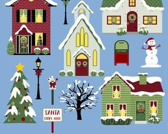 Christmas Houses Clipart, Christmas Village Clipart, Christmas Clipart, Printable, Commercial Use