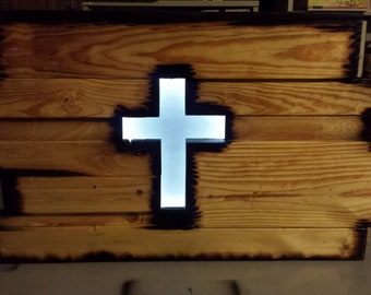 Reclaimed led cross wall hanging