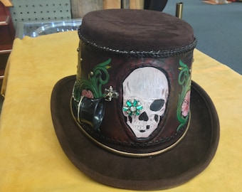 One of a Kind Steampunk Leather Tooled Coachman top hat