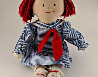 Vintage Madeline Rag Doll in Sailor Dress - No Hat - Very Good Condition - 1990 - by Eden