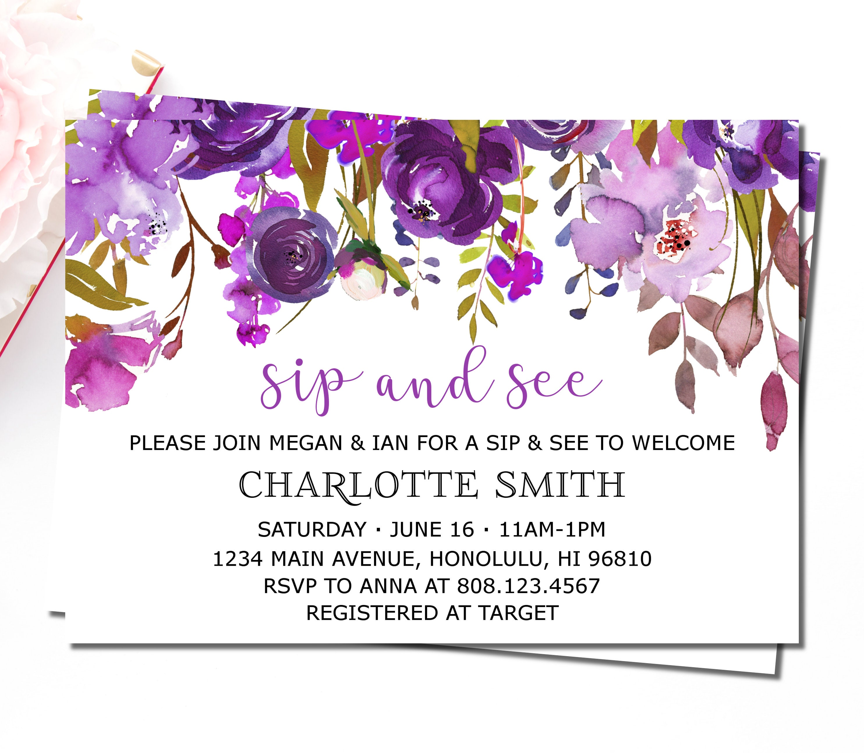 Sip and See Invitation Girl Meet and Greet Baby Invitations