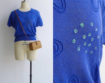 Vintage 80's Cobalt Blue Batwing Sleeve Knit Top S or M