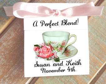 Pretty in Pink Coral Rose Teacup ~ Elegant and Classy Personalized Tea Bag Wedding Favors ~ Tea Luncheon or Brunch