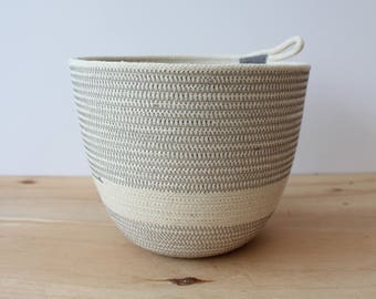 Cotton Rope Large Planter Bowl in Cloud Grey // Eco Gifts // Jungalow decor // rope vessel // houseplants
