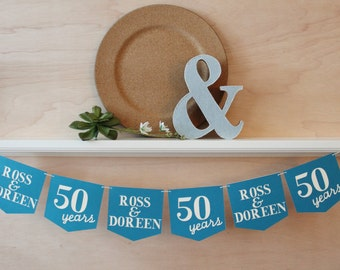 """Anniversary Banner with Couple's Names and Year - Custom Colors - 5"""" Pennants - Personalized Wedding Anniversary Decoration or Photo Prop"""