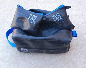 Mens Toiletry Bag Gift Set - Dopp Kit - Recycled Bike Tube - Vegan Toiletry Case with Pouches