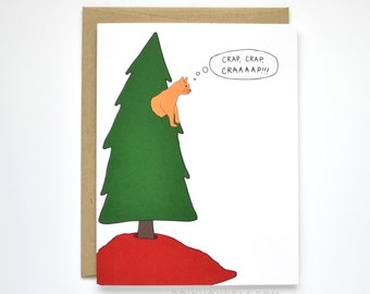 Funny Christmas Card - Cat Christmas Card - Cat Card