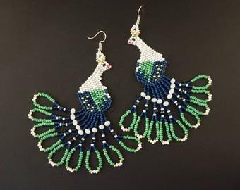 Dark blue green beaded peacock earrings Tropical bird earrings Love birds jewelry White blue bird fashion earrings Beautiful earrings gift