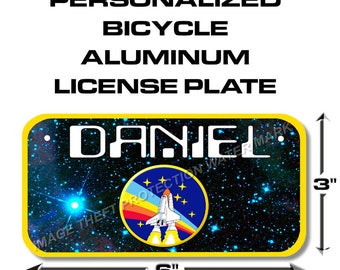 YOUR NAME NASA Space Shuttle Toy Bike Scooter Power Wheels Little Boy License Plate Tag Gift