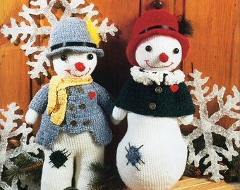 "Crochet Snowman crochet pattern pdf download Amigurumi Snowman Mr & Mrs Snowman Christmas crochet toys DK 18"" 20"" Download"