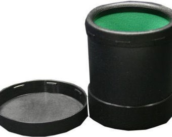 Black Plastic Dice Cup (Green Lined) with Twist Cover