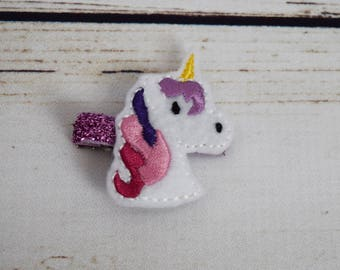 Handcrafted Purple and Pink Unicorn Feltie Clip - Small Hair Clip - Baby Girl Bows - Christmas Baby Stocking Stuffer - Unicorn Costume Bows