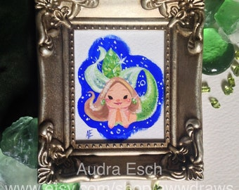August Peridot - Birthstone Mermaid - 2.5 x 3 inches - Original Gouache painting