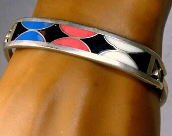 Vintage Southwestern Enamel Inlay Silver Bracelet, Mexican Alpaca, Black White Blue Pink Resin Enamel Inlay, Native Influence,1980s