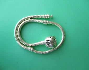 Silver Plated European Bead Style Bracelet, SP Bracelet for Large Hole Euro Beads, SP Add a Bead Bracelet, Snake Chain Euro Bead Bracelet