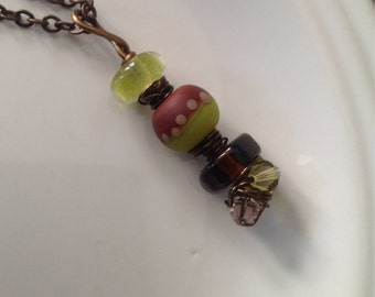 Organic wire wrapped artisan pendant in lime, burgundy and brown - OOAK - Artisan Glass Bead Pendant - Brass Chain Necklace - Edgy Necklace
