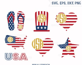 4th of july monogram, 4th of july svg, Patriotic Svg, Independence Day Monogram Svg,SVG files for silhouette, SVG files for cricut