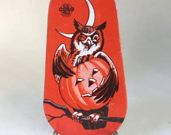 Vintage 1950's Halloween Ratchet Noise Maker with Winking Owl and Jack O'Lantern