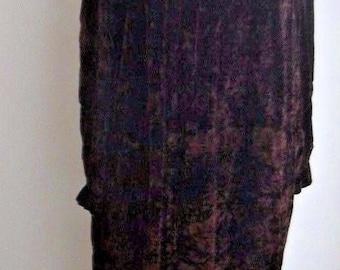 Dark Brown Crushed Velvet 1970s Hippie BoHo Long Smock Style Pleated Back Loose Fit Dress  Medium