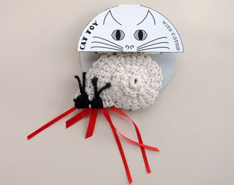 Denim Cat Toy Crochet Hermit Crab with POTENT catnip (catmint) crinkle toy or lavender drawer satchet stuffed custom stuffing