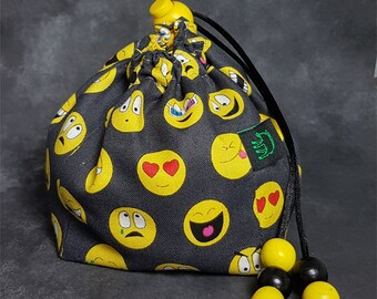 EmotiBag - Emoticon pattern dice bag / pouch with yellow cotton lining