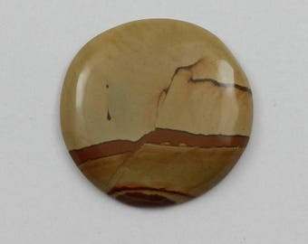 Picture Jasper Cabochon 30mm Round Owyhee Oregon Cripple Creek Jasper L11 Vintage Hand Cut Agate