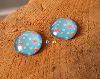 Set of 2 cabochon glass patterns Strawberry and stars Blue 12mm