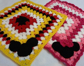 Mickey Mouse and Minnie Mouse Inspired Lovey, Gift from Grandma, Baby Shower Present, Handmade Crochet Soft Lovie for Baby, Snuggie Blanket